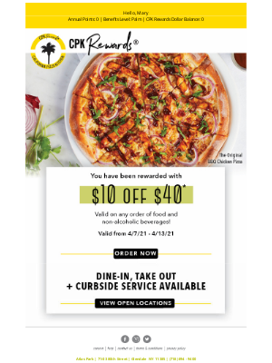 California Pizza Kitchen - Your $10 off $40 Offer Is Ready To Go!