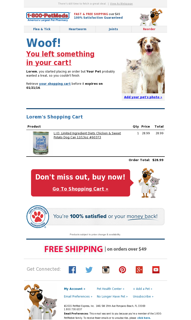 1800PetMeds - Did you leave something in your cart, Lorem?