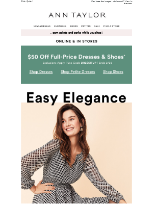Final Hours: $50 Off Select Full-Price Dresses & Shoes