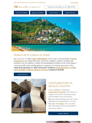 AmaWaterways - FREE Basque Country Land Package