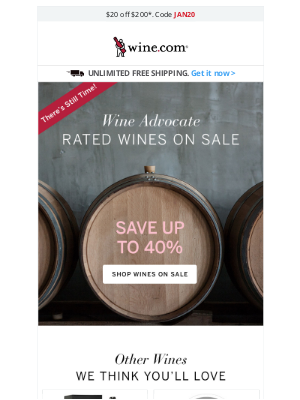 Wine - There's Still Time! Save Up to 40% on Wine Advocate Rated Wines
