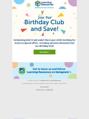 Learning Resources - Join our birthday club and save!