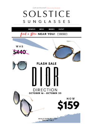 Solstice Sunglasses - Weekend Flash Sale - Dior Direction - $159 - 65% OFF!!!