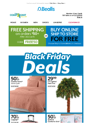 Bealls Florida - Black Friday Deals for your home + Free Shipping!