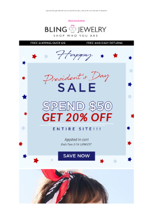 Bling Jewelry - Happy President's Day! Save 15% off EVERYTHING!
