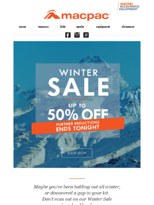 Winter Sale ... Ends Tonight!