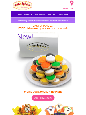 Cookies by Design - Last Day to Get Your Free Halloween Spots!