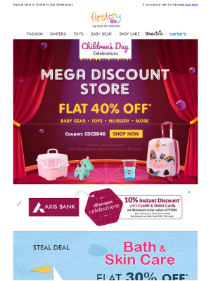 FirstCry (India) - Mega Discount Store > Flat 40% OFF on Toys, Baby Gear & More