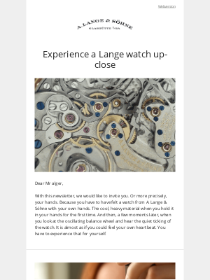 A. Lange & Söhne - Your hands are warmly invited