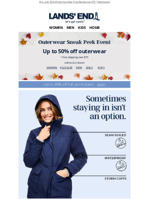 Lands' End - This just in! Up to 50% off Squall® parkas & more