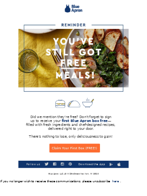 Head's up: you've still got free meals waiting!