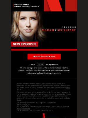 MailCharts, Madam Secretary Madam Secretary: Season 6 is now on Netflix