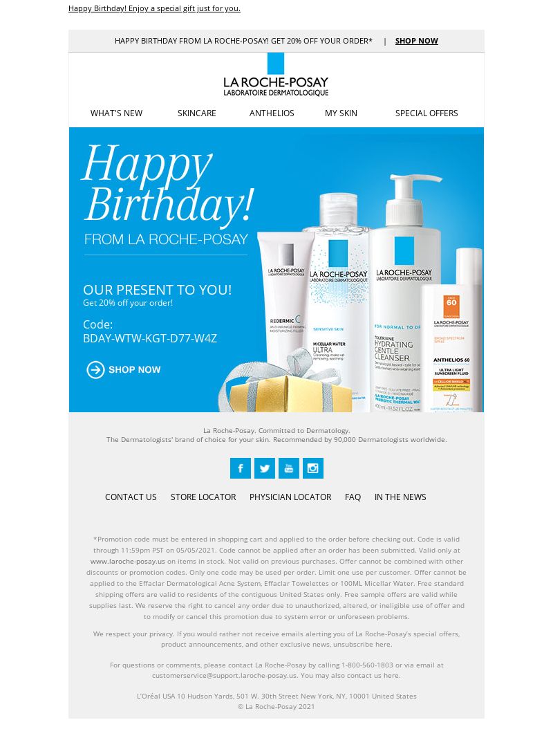 La Roche-Posay - Happy Birthday! Enjoy a special gift just for you.