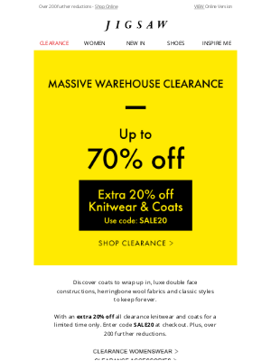 Jigsaw (UK) - Extra 20% off Clearance Coats and Knitwear Continues