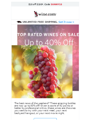 Save up to 40% on Top Rated Wines