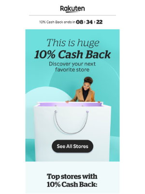 Rakuten - Find your new fave stores + 10% Cash Back