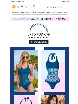 VENUS Swim & Fashion - Did you hear? FREE shipping ends tonight