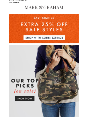 Mark and Graham - Extra 25% Off Ends Tonight + Our Top Picks On Sale