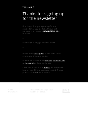 Throne Watches - Thanks for signing up for our newsletter
