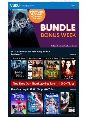 Vudu - Limited Time | Get A $2 Promo Code With Every Bundle Purchase