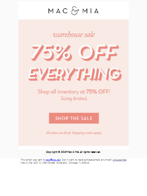 🤩 Shop our sale, now at 75% OFF!