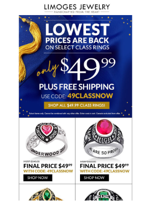 Limoges Jewelry - Just Announced 🎓 Class Rings Under $50