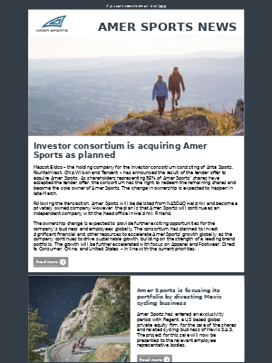 Amer Sports - Amer Sports Investor Relations Newsletter March 2019