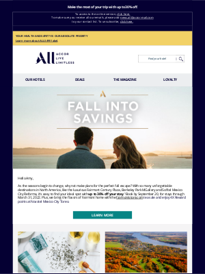 Fairmont Hotels - Find the perfect destination for a fall getaway, Amy