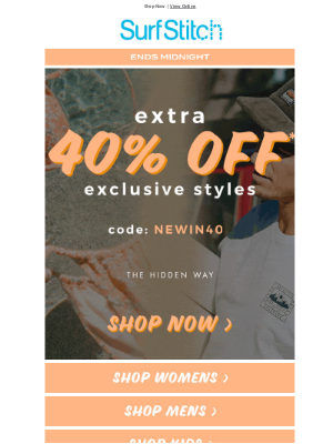 SurfStitch - Over 1000 spring styles now 40% off 🌿