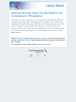 American Airlines Helps Provide Relief to the Unsheltered in Philadelphia