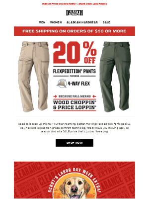 Duluth Trading Company - Let's Move! 20% OFF Flexpedition Pants!
