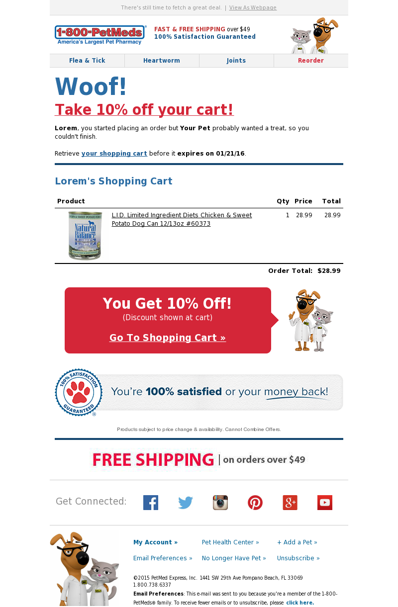 1800PetMeds - Enjoy 10% OFF your cart when you finish ordering today.