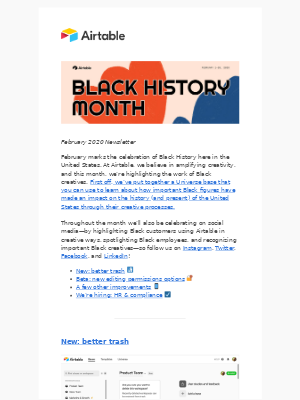 Airtable - Black History Month celebrations and new features