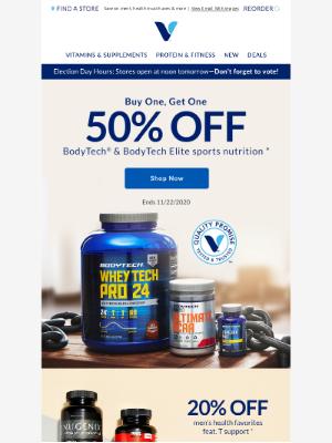 Vitamin Shoppe - BOGO 50% off high-performance fuel