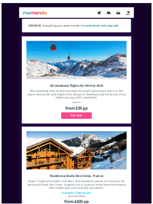 momondo (UK) - The Travel Hotlist: Deals on ski holidays, COVID-19 testing and more.