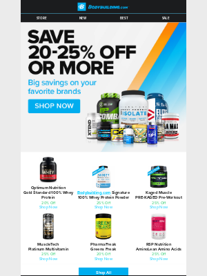 Bodybuilding - ⏰ Ends Soon: Save 25% (or More) on Top Brands!