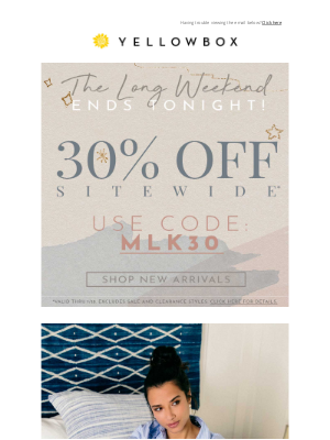 Ends Tonight: 30% Off Sitewide!