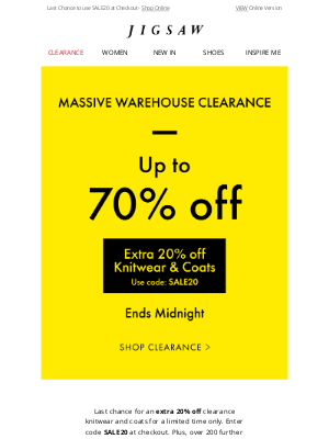 Jigsaw (UK) - Ends Midnight   Extra 20% off Clearance Knitwear and Coats