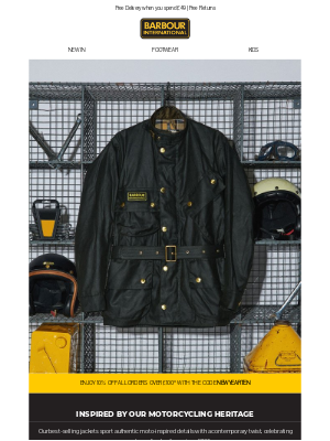 Barbour (UK) - Moto-inspired classics   Enjoy 10% off when you spend £100