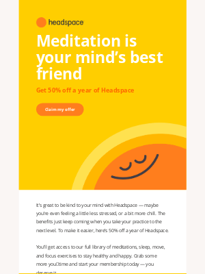 Headspace - Get 50% off a year of Headspace