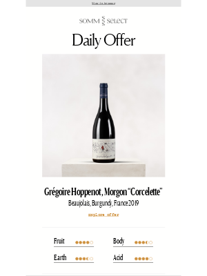 "SommSelect - Our Favorite, Unbelievably Rare ""Cru"" Morgon Returns!"
