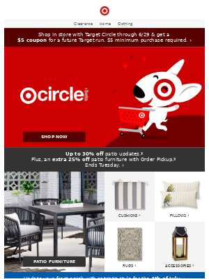 In-store offer: Shop with Target Circle & get a $5 coupon!