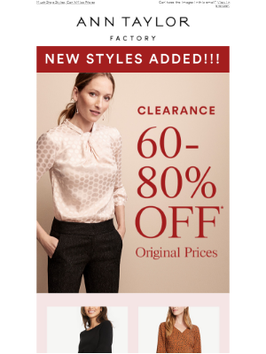 New Styles Added To Clearance: 60-80% OFF!!!