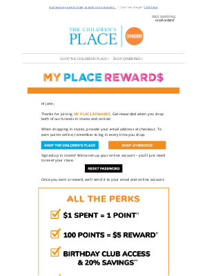 The Children's Place - Welcome to My Place Rewards!