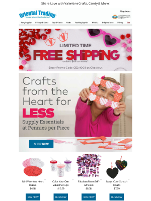 Oriental Trading Company - Fall in Love with Valentine Crafts + Free Shipping!