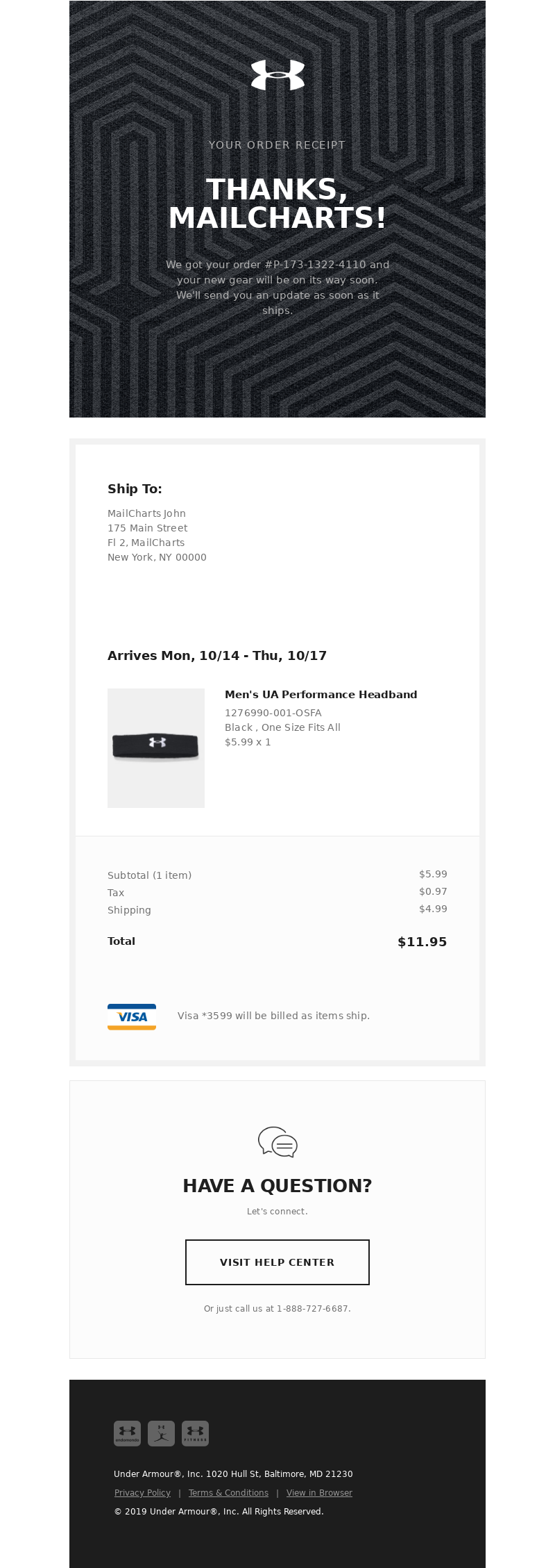 Under Armour - Order Confirmation For UA #P-173-1322-4110