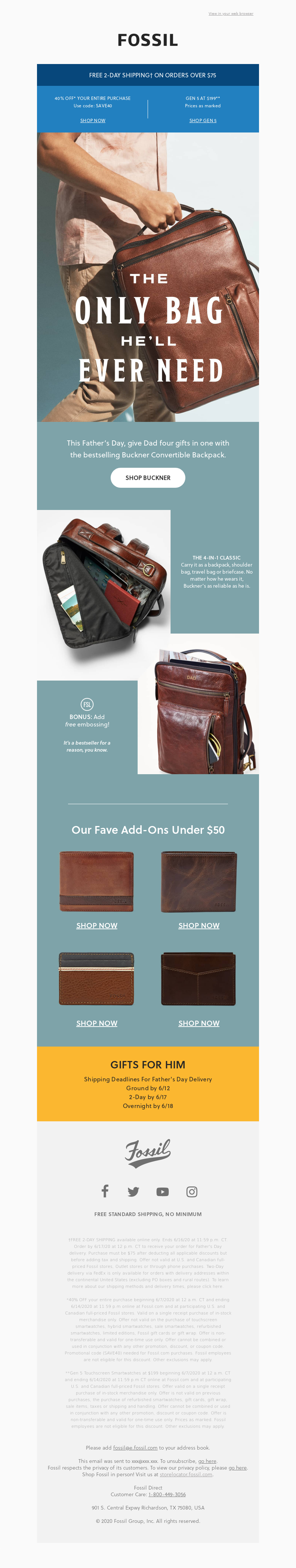 View in your web browser Fossil FREE 2-DAY SHIPPING† ON ORDERS OVER $75 40%