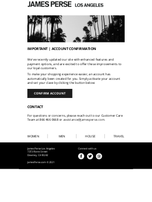 James Perse Ent. - Customer account activation