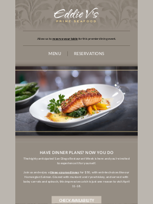 Eddie V's Prime Seafood - 3 courses for $50