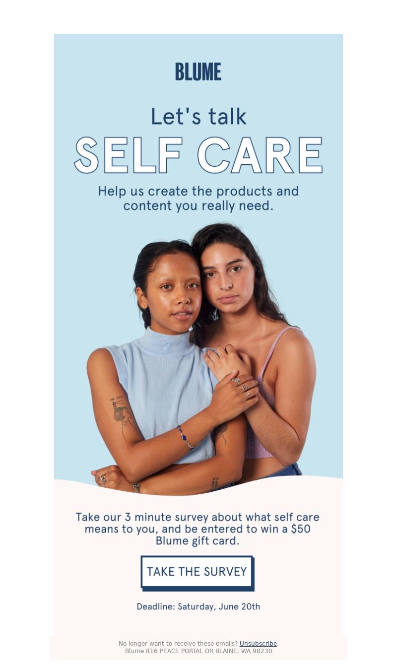 Meet Blume - Take our 3 min. self care survey →